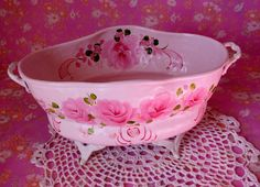 Tub Hand Painted Cottage Chic Pink Roses Shabby
