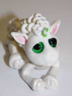 OOAK Handmade Polymer Clay Tiny Baby Unicorn by Woodlandkreatures