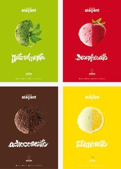 Branding, identidad corporativa y comunicación con los carteles publicitarios Food Graphic Design, Creative Poster Design, Ads Creative, Creative Posters, Creative Advertising, Ad Design, Advertising Design, Ice Cream Menu, Ice Cream Logo