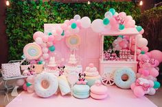 You can never go wrong with a little pink! Baby's first birthday? Pink decor for baby's birthday bash. Candy Theme Birthday Party, Donut Birthday Parties, Girl Birthday Themes, Donut Party, Candy Party, Carnival Birthday, Birthday Bash, Birthday Ideas, Happy Birthday