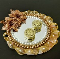Ring platter what is price of it? Thali Decoration Ideas, Diy Diwali Decorations, Wedding Stage Decorations, Engagement Decorations, Engagement Ring Platter, Engagement Ring Holders, Ring Holder Wedding, Mehndi Decor, Mehendi