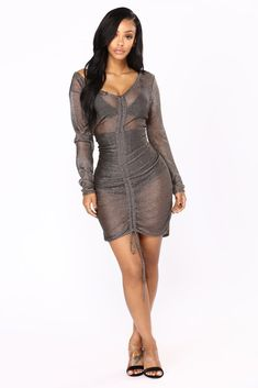 Available In Gunmetal And Rose Gold Metallic Chain Dress Ruched With Drawstring Long Sleeve Viscose Metallic Sexy Dresses, Cute Dresses, Short Dresses, Modest Fashion, Fashion Dresses, Fashion Poses, Metallic Dress, Ebony Women, Black Women Fashion