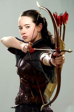 Susan Pevensie. Cool, realistic, protective armour, although maybe the leather breastplate would benefit from some shoulder straps, that way it would be more secure-fitted and comfy, as it would probably also be a little bit less tight with the added security of the straps.  I also think that the bow is way too short for her...