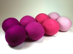 Wool Dryer Balls - Pretty in Pink - Set of 8 Eco Friendly - Can be Scented or Unscented on Etsy, $38.00