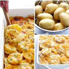 These cheesy scalloped potatoes are simple to make and taste amazing. Scroll down for the printable scalloped potatoes recipe. Best Scalloped Potatoes, Scalloped Potato Recipes, Scallop Potatoes, Fun Easy Recipes, Dinner Recipes, Easy Meals, Brunch Recipes, Delicious Recipes, Crockpot