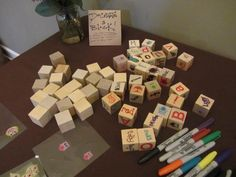 Decorate A Block at a baby shower - love this!