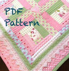 Chic Baby Girl Quilt Pattern  Modern Log by ChristineJDesigns