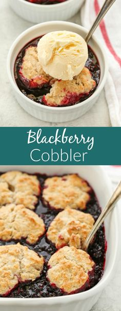 This Blackberry Cobbler features a sweet blackberry filling and a cinnamon sugar biscuit topping. You can even use frozen blackberries in this cobbler so you can enjoy it all year long! Desert Recipes, Fruit Recipes, Sweets Recipes, Just Desserts, Delicious Desserts, Sweet Desserts, Baking Recipes, Impressive Desserts, Summer Desserts