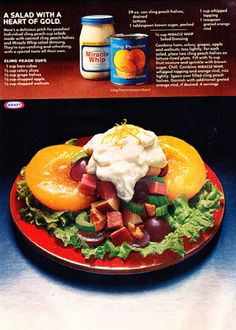 1977 recipe for Cling Peach Cups
