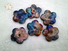 6 #Flower #Beads, #Raku Beads, #Clay Beads, #Ceramic Beads, #Handmade Bead #Supplies #integritytt