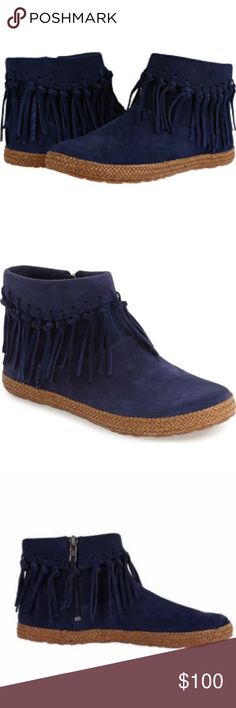 TYING Kids Girls Moccasin Fringe Faux Fur Lace Up Flat Ankle Boots