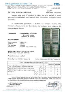 Certificazione della resistenza al carico del vento.