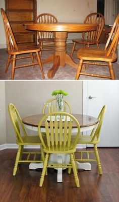 Woodworking 67 Furniture Makeovers That'll Totally Inspire You: Dining set makeover via Happiness is Creating - All the furniture makeovers to get you inspired - from thrift store finds to roadside rescues, look no further for refinishing inspiration. Diy Furniture Easy, Refurbished Furniture, Repurposed Furniture, Dining Furniture, Furniture Projects, Rustic Furniture, Vintage Furniture, Furniture Decor, Painted Furniture