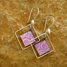 Pink  Fused Glass Hoop Earrings Dichroic Fused Glass by GlassCat, $25.00