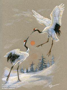 Dancing Cranes by pallanoph on deviantART ~ artist April Schumacher