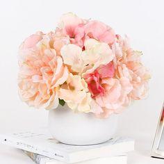 Floral Arrangement ~ Pink hydrangea, Viburnum, Pink Peonies, Parrot Tulips and Pink Roses Peonies And Hydrangeas, Hydrangea Not Blooming, Pink Hydrangea, Lavender Flowers, Faux Flowers, Pink Peonies, Pink Roses, Tea Roses, Exotic Flowers