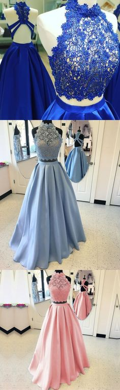 BEAUTIFUL BLUE A-LINE TWO PIECES LACE SATIN LONG PROM DRESS  #twopiecespromdresses #prom #dresses #longpromdress #promdress #eveningdress #promdresses #partydresses #2018promdresses