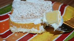 Pumpkin Dessert we make this, but with pistachio pudding as the middle layer, or chocolate works well also :)