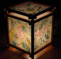 Tired of your old lantern? Paint or draw on rice paper. This is an example of Phillip's artistic lantern. Old Lanterns, Rice Paper, Tired, Light Bulb, Create Your Own, Draw, Paint, Canning, Artist