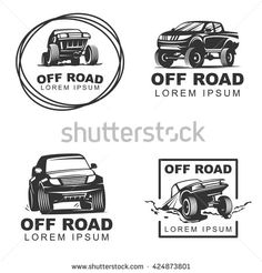 Set off-road suv car monochrome labels, emblems, badges or logos isolated on white background. Off-roading trip emblems, 4x4 extreme club emblems. Vector EPS10. - stock vector