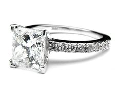 Amazing Princess Cut Engagement Ring With Diamond Band This is the one Princess cut set in square edge and diamond band