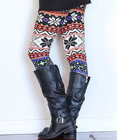 This Black & Purple Fair Isle Snowflake Leggings by CoziBear Boutique is perfect! #zulilyfinds