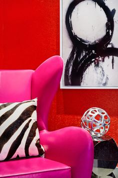 mix of pink and red Large Wall Art, Large Art, Interior Inspiration, Color Combinations, Color Pop, Home Goods, Animal Prints, Interior Design, House Styles