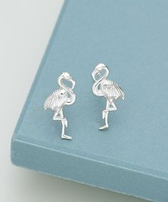 Lily Charmed Sterling Silver Flamingo Stud Earrings | zulily