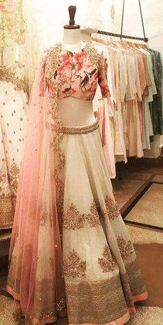 Muted colour tones with a touch of the classic Anushree Reddy florals! Find our summer collection at Ogaan, Haus Khas Village. Red Lehenga, Bridal Lehenga, Lehenga Choli, Sabyasachi, Pakistani Dresses, Indian Dresses, Indian Outfits, Indian Bridal Wear, Indian Wear