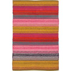 A favorite among the Dash & Albert crew, this woven cotton area rug travels freely from room to room with its unique blend of weaving techniques and bohemian mix of golds, reds, and jewel tones.