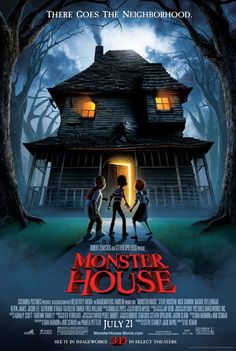 Monster House on DVD October 2006 starring Mitchel Musso, Sam Lerner, Spencer Locke, Steve Buscemi. Monster House is an exciting and hilarious thrill-ride tale about three kids (Mitchel Musso, Sam Lerner and Spencer Locke) who must do battl Cartoon Movies, Scary Movies, Great Movies, Horror Movies, Disney Movies, Film D'animation, Film Serie, Love Movie, Movie Tv