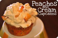 Peaches & Cream Cupcakes- mmmmm these were a HUGE hit! Cupcake Flavors, Cupcake Recipes, Dessert Recipes, Single Serve Desserts, Just Desserts, Delicious Cupcakes, Delicious Desserts, Baking Cupcakes, Cupcake Cakes