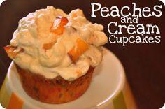 Peaches & Cream Cupcakes- mmmmm  I love peaches- can't wait to make these!