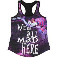 Amazon.com: Disney Alice In Wonderland Cheshire Cat We're All Mad Here... ($29) ❤ liked on Polyvore featuring tops, cat print top, disney tank top, cat tank top, cat top and disney tanks