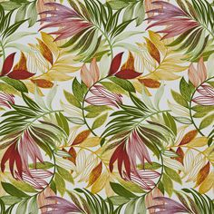 Burgundy Amber and Green Tropical Beach Oasis Leaf Themed Upholstery Fabric