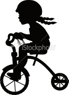 Girl on Tricycle Silhouette Royalty Free Stock Vector Art Illustration