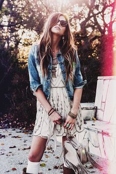 Sleeveless Beaded Sheer Dress & Distressed 3/4 Sleeve Cropped Denim Jacket // Fall in love with our Spring 2015 Lookbook! http://www.bohme.com/spring-lookbook/?___store=default