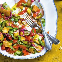 Recept - Salade met brood en komkommer - Allerhande
