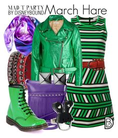 """""""March Hare"""" by leslieakay ❤ liked on Polyvore featuring Lanvin, Leona Lengyel, Golden Goose, ILI, Dr. Martens, Waterford, disney and disneybound"""