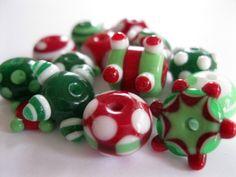 Handmade Christmas Lampwork Beads SRA by bethsingleton on Etsy, $36.00 #beth singleton