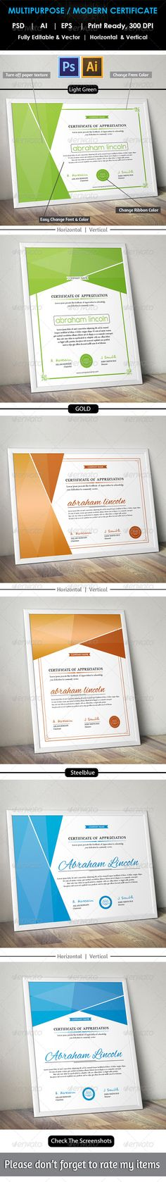 162 best Certificate Template Design images on Pinterest     Simple Multipurpose Certificate GD012   PSD Template     Only available here         http