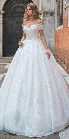 Modest Lace Off-the-shoulder Neckline Ball Gown Wedding Dress #weddinggowns