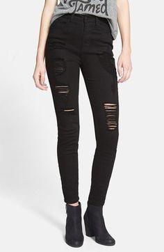 SP Black Destroyed High Waist Skinny Jeans (Black) (Juniors) | Nordstrom
