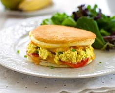 Two fluffy pancakes, tofu scramble and melty cheese make this a perfect grilled cheese treat.