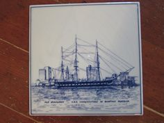 U.S.S. Constitution Delft Tile Hot Plate/Picture by OpenTwentyFourSeven on Etsy