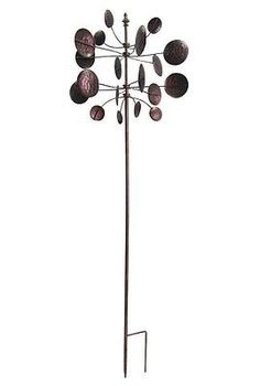 Garden Wind Spinner Lawn Yard Stake Kinetic Spinner Metal Sculpture Circles  Art