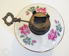 Antique Rose Chintz Porcelain Oil Lamp With Gold Trim by parkledge on Etsy