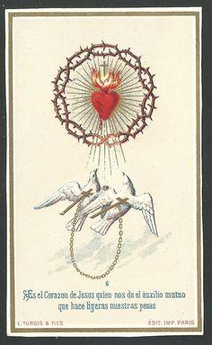 Ancient print of the Sacred Heart of Jesus andachtsbild santino holy card – Fe – epoxyet Jesus Tattoo, Catholic Art, Religious Art, Catholic Pictures, Heart Mirror, Esoteric Art, Heart Of Jesus, Sacred Art, Heart Art