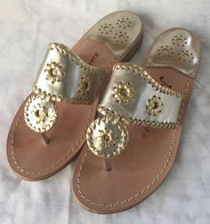 33294e833ffa Jack Rogers Navajo 1960 Silver Thong Gold Trimming Sandals Size 9 EUC! in  Clothing,