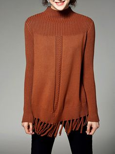 Shop Sweaters - Camel Turtleneck Casual Fringed Plain Sweater online. Discover unique designers fashion at StyleWe.com.
